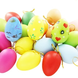 18 Pcs Pintado ovos Simulação de cascas de ovos coloridos brinquedos de Páscoa do jardim de infância das Crianças mão-pintado DIY ornamentos decorativos