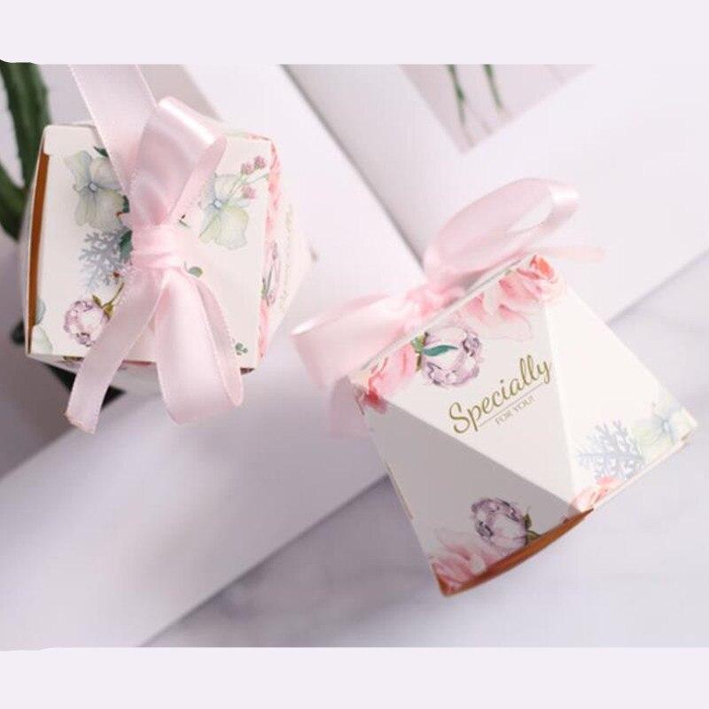 Caja de regalo de boda de diamante rosa/verde de lujo caja de regalo de fiesta caja de regalo de Bomboniera