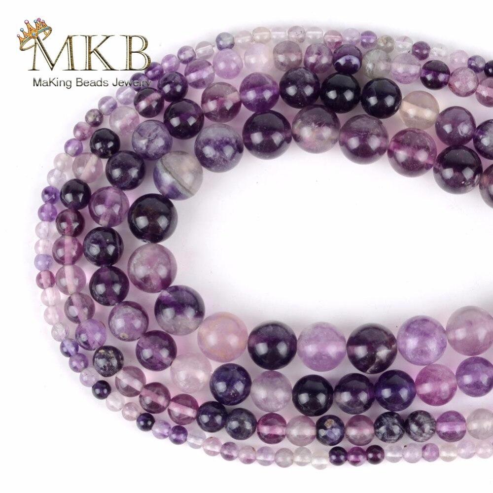 Piedras Naturales redondas de fluorita púrpura, cuentas sueltas para hacer joyas, 4 6 8 10mm, cuentas para manualidades de pulseras, accesorios de joyería