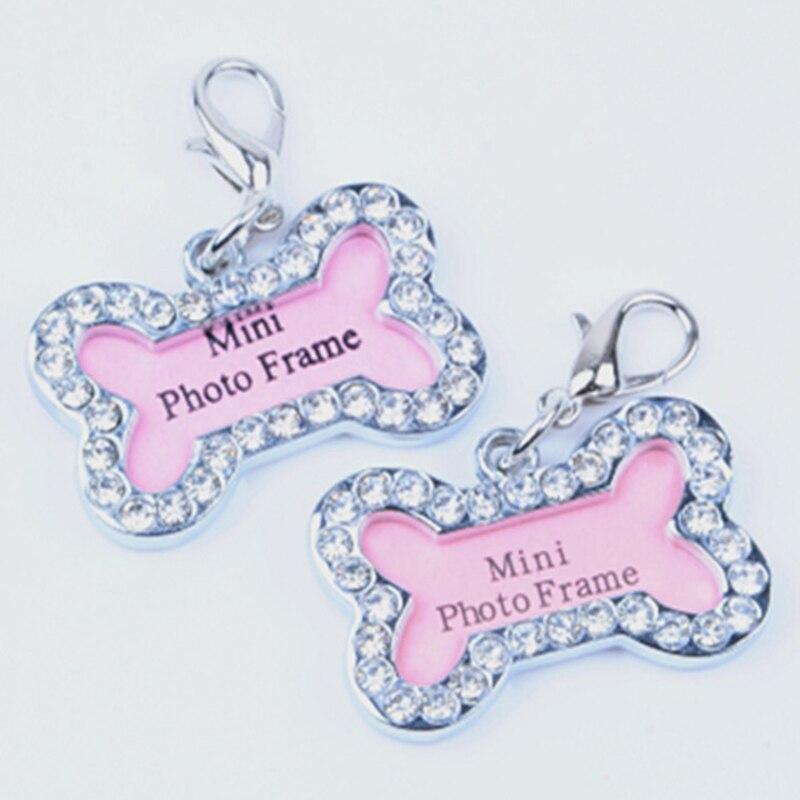 2PCS Anti-verloren ID Hund Tag Mini Knochen Form Pet Hund Katze ID Tags Adresse Name Karte Diamant anhänger Für Hund Kragen Laisse Chien