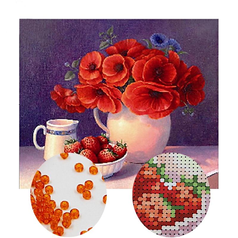 Needlework,DIY bead Cross stitch,Embroidery stitch still life,women Precise Printed floral Pattern cross stitch