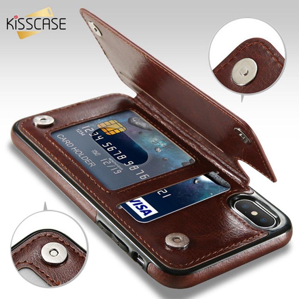 New KISSCASE Flip Caja de la Carpeta Para el iphone 8 7 6 6 s Plus X Casos de Cuero del Soporte de tarjetas Para Samsung Galaxy S8 S8 Plus S7 S7 Edge Accessories Capinhas For Funda iPhone 6 6s For Funda iPhone 7 8 Plus