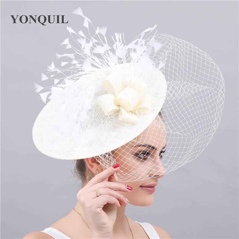 Kenducky-قبعات زفاف عاجية ، قبعات زفاف أنيقة للنساء ، عصابات رأس شبكية للسباق والحفلات