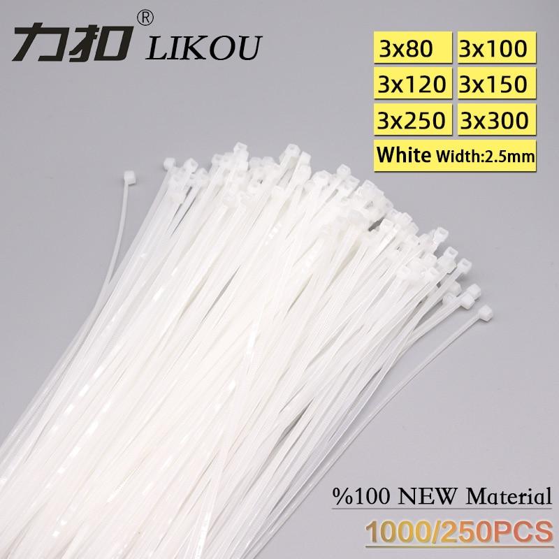 LIKOU Self-Locking Nylon cable ties 250-1000PCS 3x60mm 3x80mm 3x100mm 3x120mm 3x150mm 3x200mm  Plastic wire ties straps white