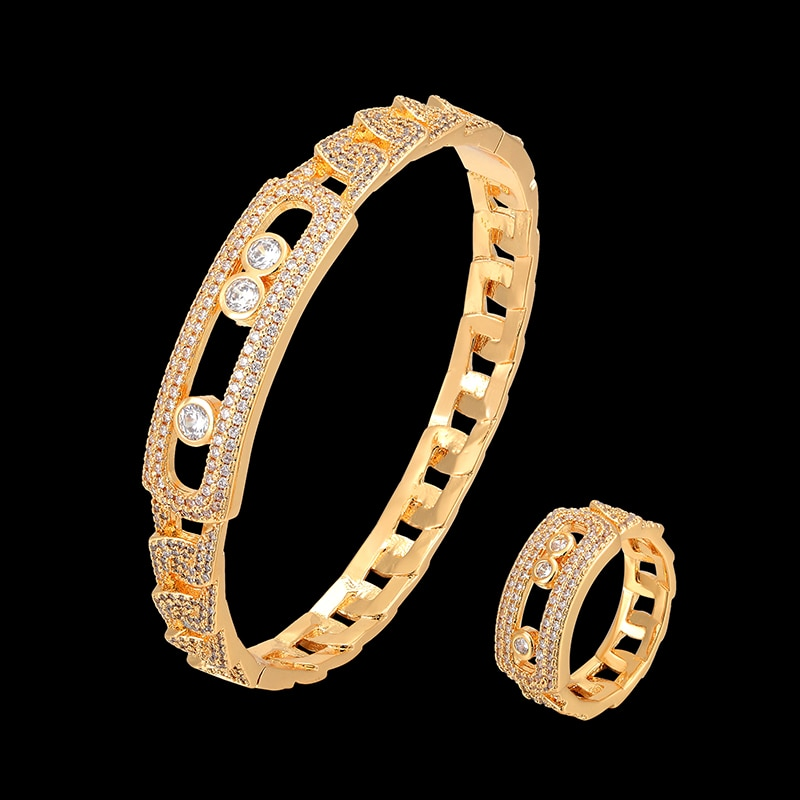 Lanruisha pulseira com anel conjunto de jóias meseaka zircão completo micro pave configuração corrente estilo na moda bangle & pulseira moda jóias