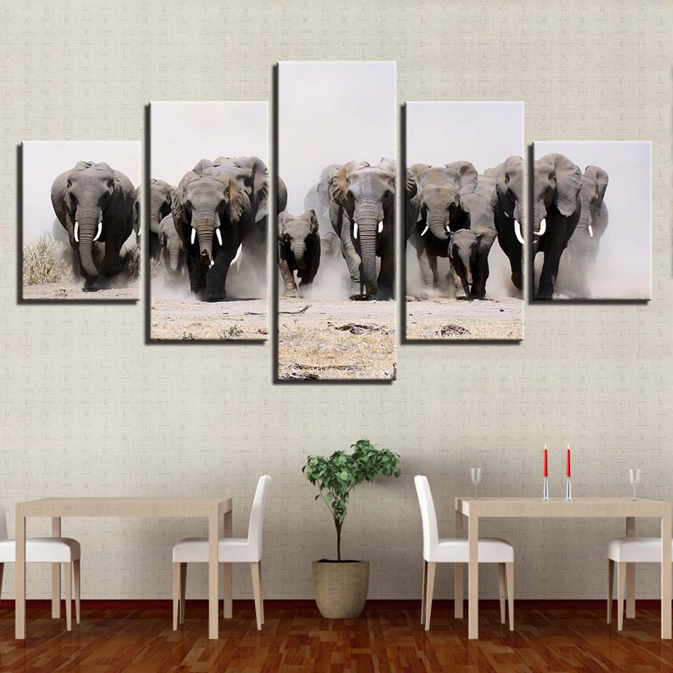 Cuadro Modular Popular lienzo arte 5 paneles elefante pared arte moda cartel pintura marco moderno sala de estar decorativo