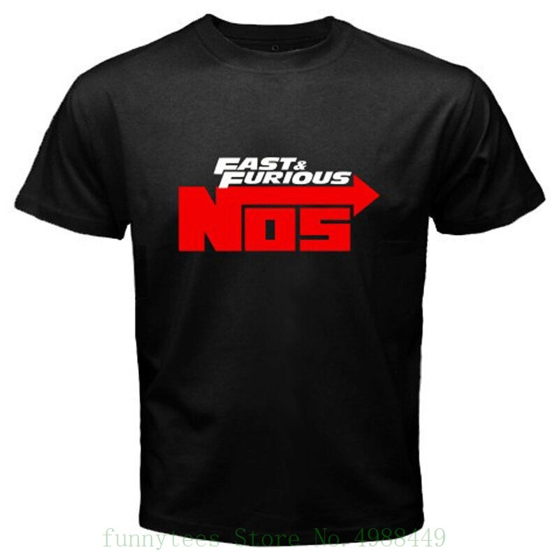 Nueva camiseta negra de óxido nitroso Nos para hombres, rápido y furioso, talla S a 3xl, verano de dibujos animados