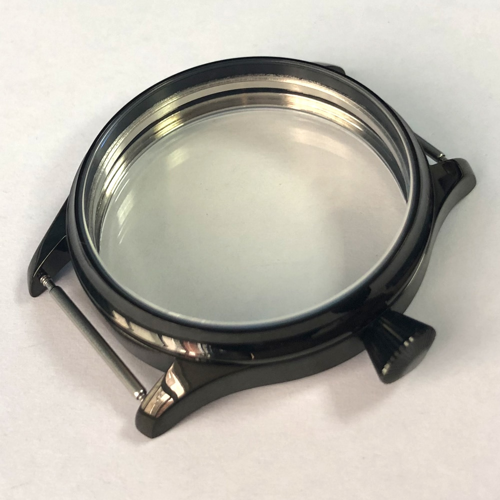 Corgeut44mm-أجزاء ساعة اليد الرجالية ، علبة الفولاذ المقاوم للصدأ ، الفولاذ المقاوم للصدأ ، أسود ، مقاوم للبخار ، لـ ETA 6498 ، 6497 ، ST3600