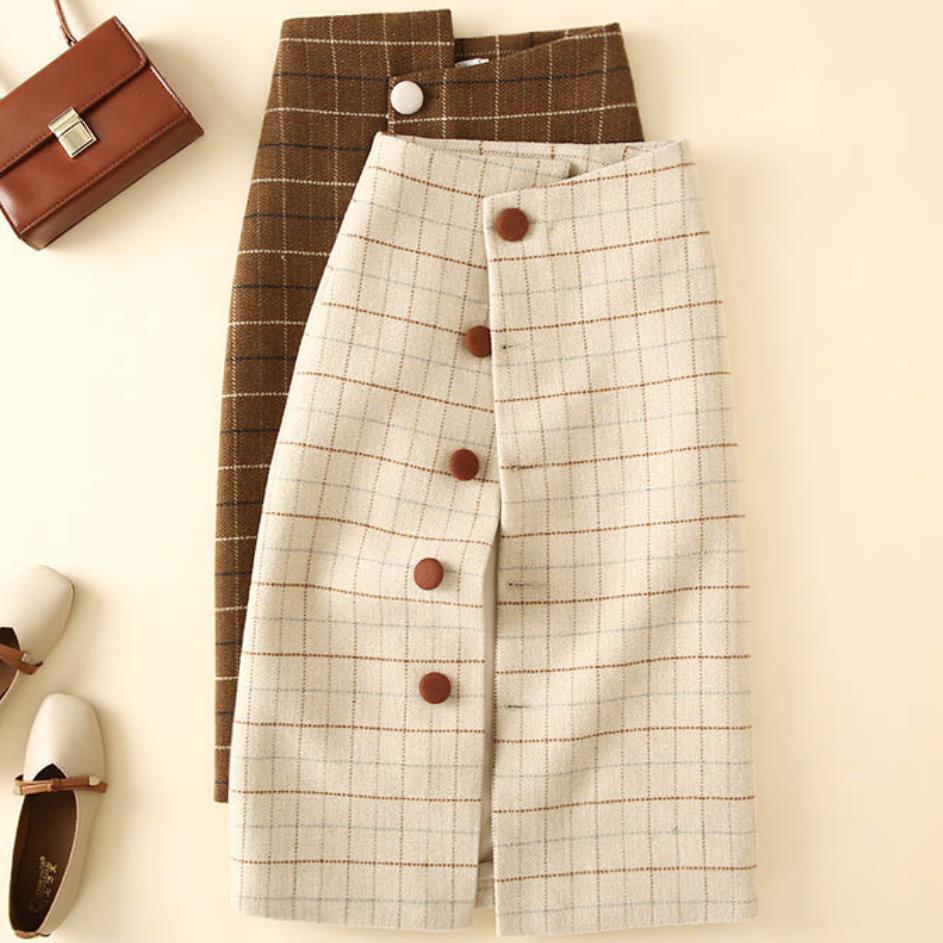 Las mujeres de lana Plaid falda cintura alta celebridad de celosía Retro femenino de moda falda con abotonadura