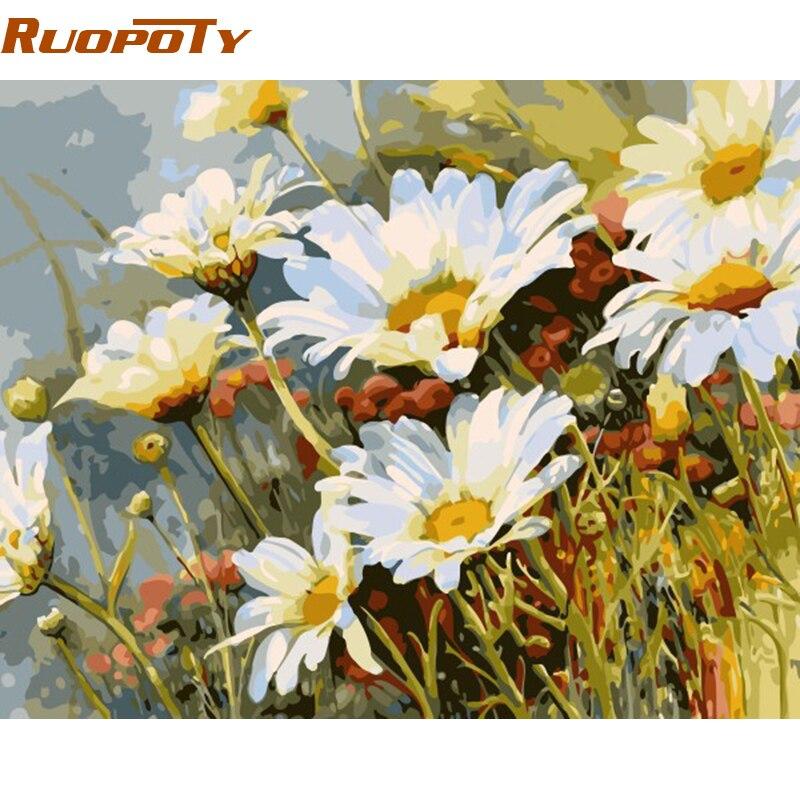 Lienzo de arte de pared moderno ruopoty de flores blancas, pintura Diy por números, imagen acrílica, decoración de pared para el hogar, regalo único para la decoración de la habitación