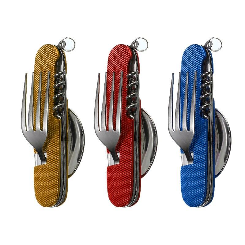 Vajilla multifunción 6 en 1 para exterior, cuchillo de Camping, tenedor de acero inoxidable, cuchara, abrebotellas, Kit plegable para senderismo, supervivencia, viaje