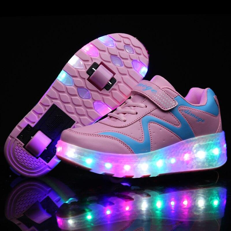 Zapatillas deportivas Con ruedas para niños y Zapatos de luz LED, Zapatos...