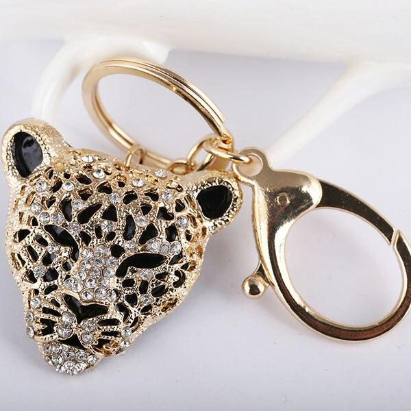 Animal Panther Leopard Rhinestone Keyring Charm Pendant Purse Bag Key Ring Chain Keychain Gift AZL677