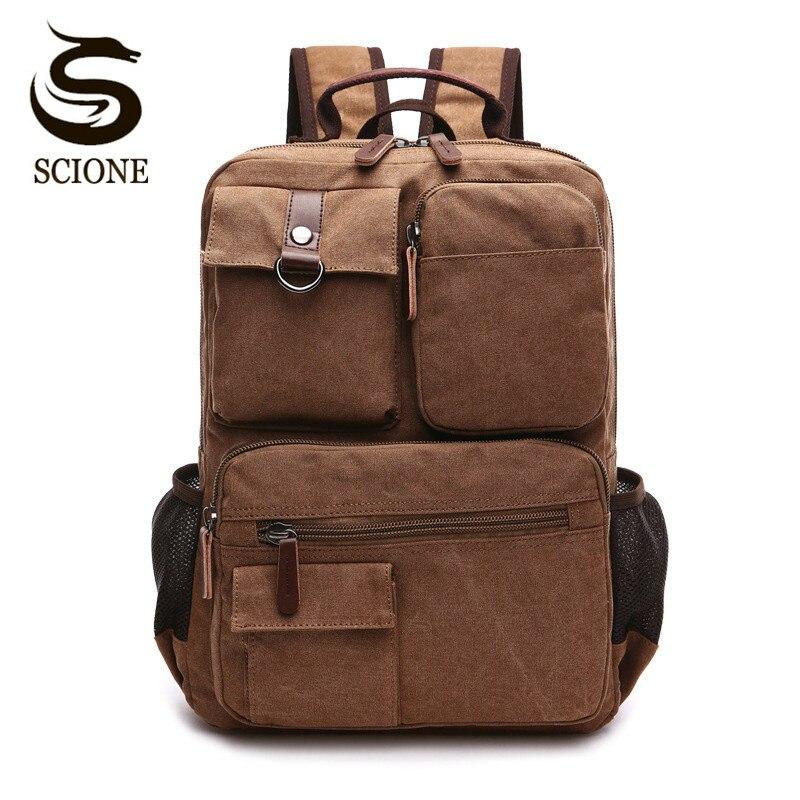 Scione-حقيبة ظهر قماشية ذات سعة كبيرة للرجال ، حقيبة ظهر قماشية للسفر ، حقيبة ظهر للكمبيوتر ، تصميم ماركة مشهورة ، حقيبة كتف مدرسية للرجال