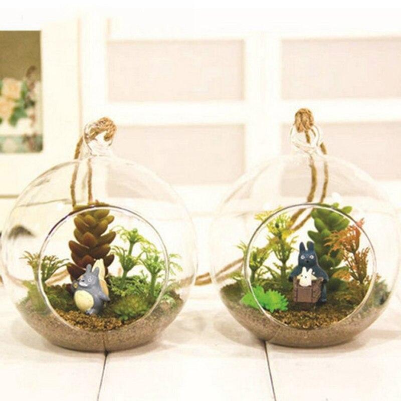 Diy vaso de bola de vidro aquário tanque de peixes pendurado vaso de flores hidroponia planta micro paisagem decoração para casa