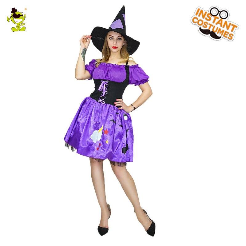 Hermosos disfraces de bruja púrpura para mujer, fiesta de disfraces, disfraz de hechicera adorable, vestido de fantasía, bonita decoración de hechicera para adultos