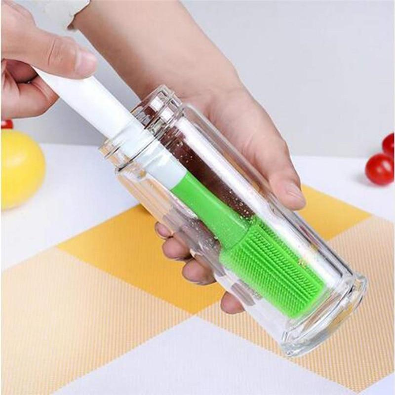 Bebé de cepillo de botella de rotación de 360 cepillo de silicona alimentación con leche de cepillo de botella de pezón de limpieza taza depurador cepillos 35