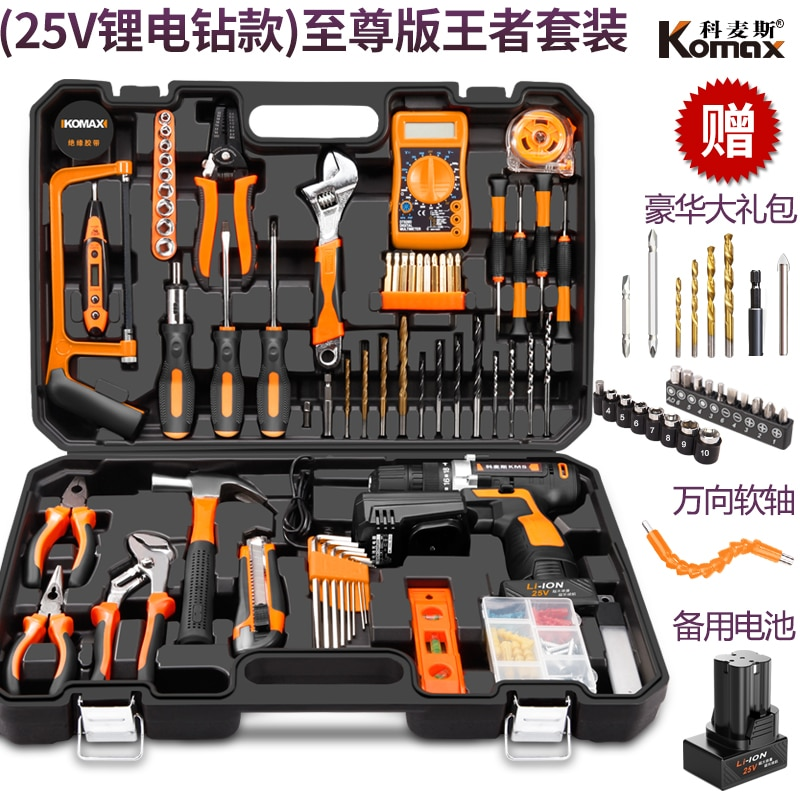 Household Electric Drill Electric Hand Tool Set Hardware Electrician Special Maintenance Multi-function Toolbox Woodworking 88 enlarge