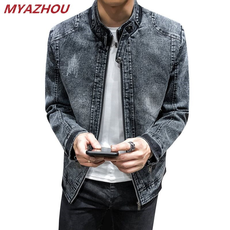 Chaqueta nueva de mezclilla retro de alta calidad 2019 para hombre, chaqueta casual de color liso ajustada a la moda, chaqueta vaquera para hombre