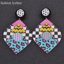 fashion lychee Bohemian Big Waterdrop Graffiti Drop Punk Earrings Women Jewelry Hipop Acrylic Dangle Big Earings Eardrop