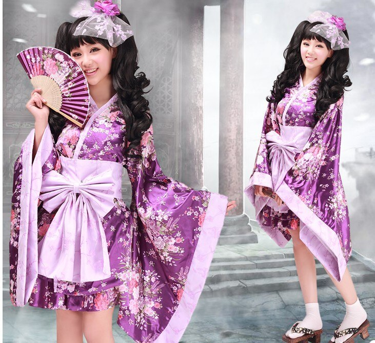 Bonito flor de cerejeira quimono roxo sakura quimono lolita vestido cosplay traje