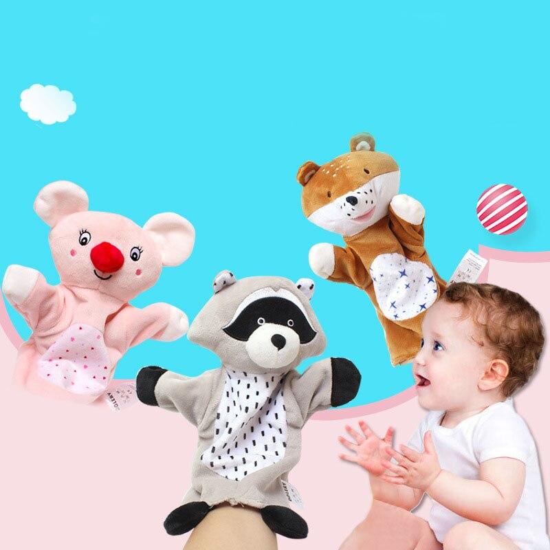 Animais dos desenhos animados fantoches de mão brinquedo de pelúcia adorável crianças sono história jogo fantoche pai-criança brinquedo de interação bonecos