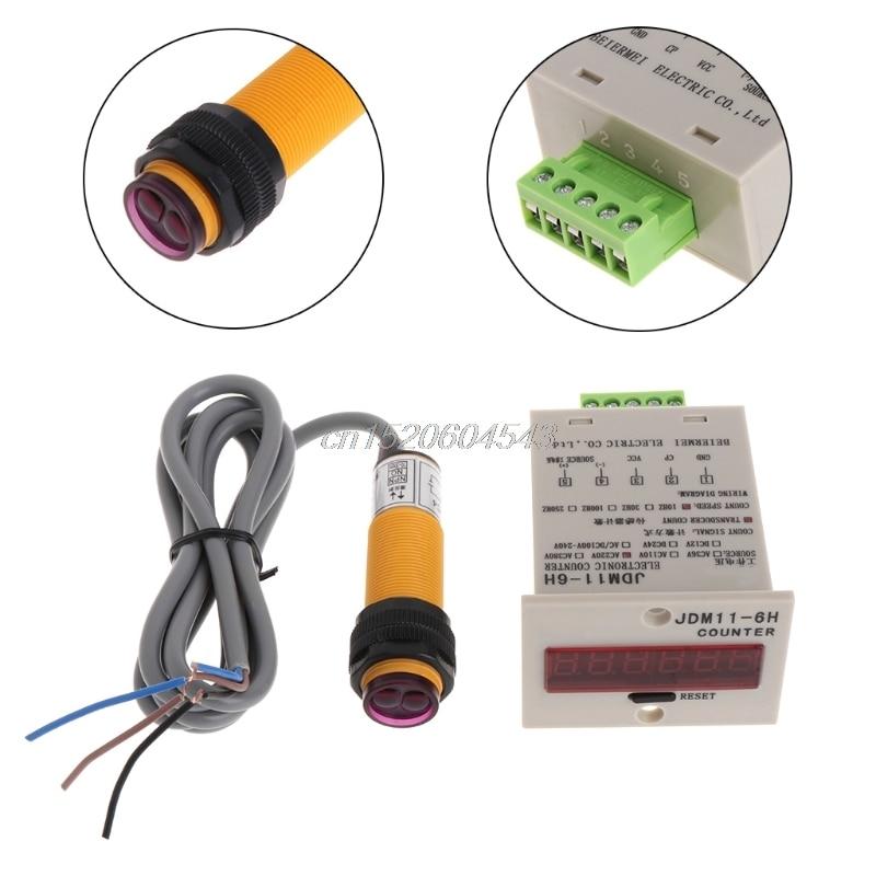 6 dígitos display led 1-999999 contador ajustável npn interruptor de sensor fotoelétrico r09 whosale & dropship