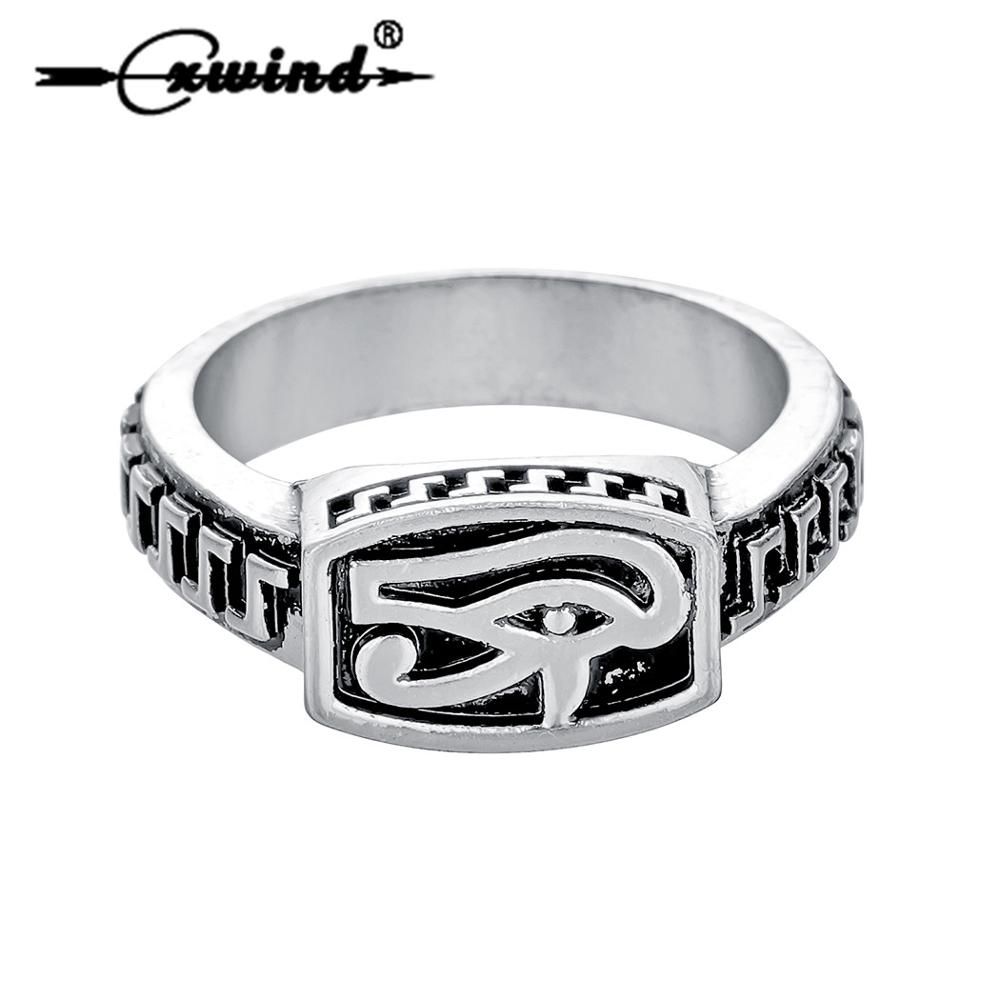 Cxwind Vintage Egyptian Eye of Horus Amulet Rings Egypt Pharaoh God Jewelry for Mens Women Punk Finger Ring Wholesale
