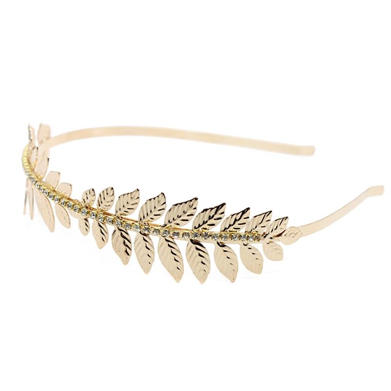 Fashion Crystal Rhinestone Tiara Gold Color Leaves Hairbands Wedding Hair Accessory Bridal Head Jewelry Leaf Headband For Women