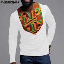 INCERUN 패션 아프리카 의류 남자 T 셔츠 인쇄 패치 워크 긴 소매 민족 V 넥 탑 아프리카 Dashiki T-셔츠 남자 2021