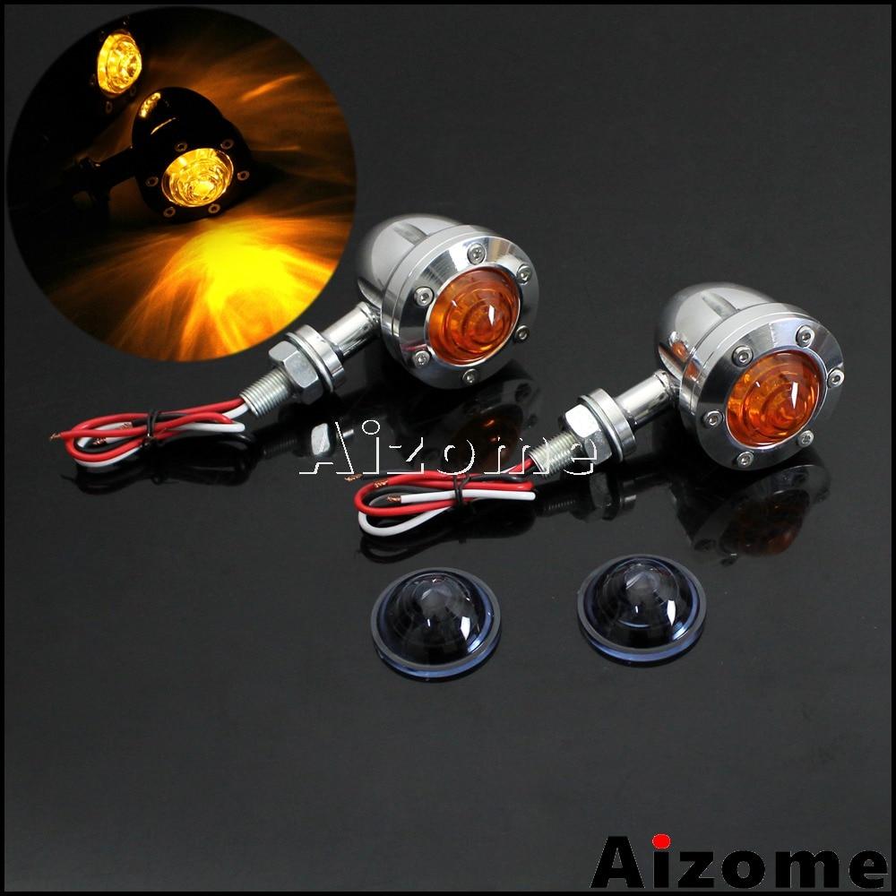 Indicadores de giro LED para motocicleta, luces de señal de giro tipo bala, lámpara de Flash intermitente de aluminio para Harley Cafe Racer Chopper Bobber