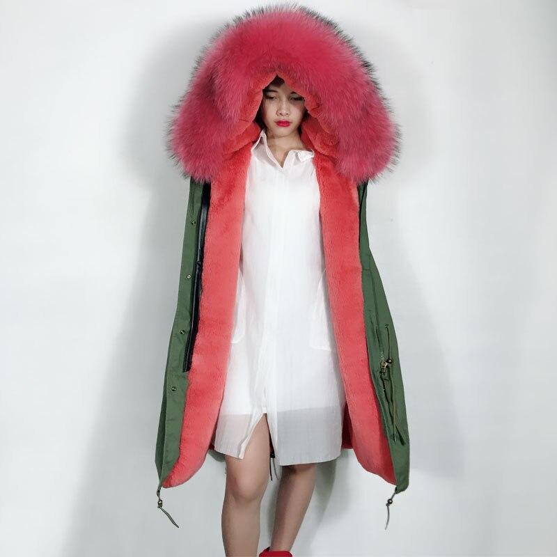 Mujer gran Cuello de piel de mapache Real capucha sin mangas chaqueta verde militar Chaleco con forro de pelo Rosa Chaleco de invierno