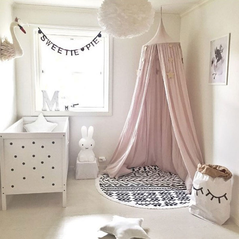 Cúpula redonda colgante mosquitera niño cama dosel cama cortina nórdica princesa estilo niños dormitorio decoración hogar DIY Decoración