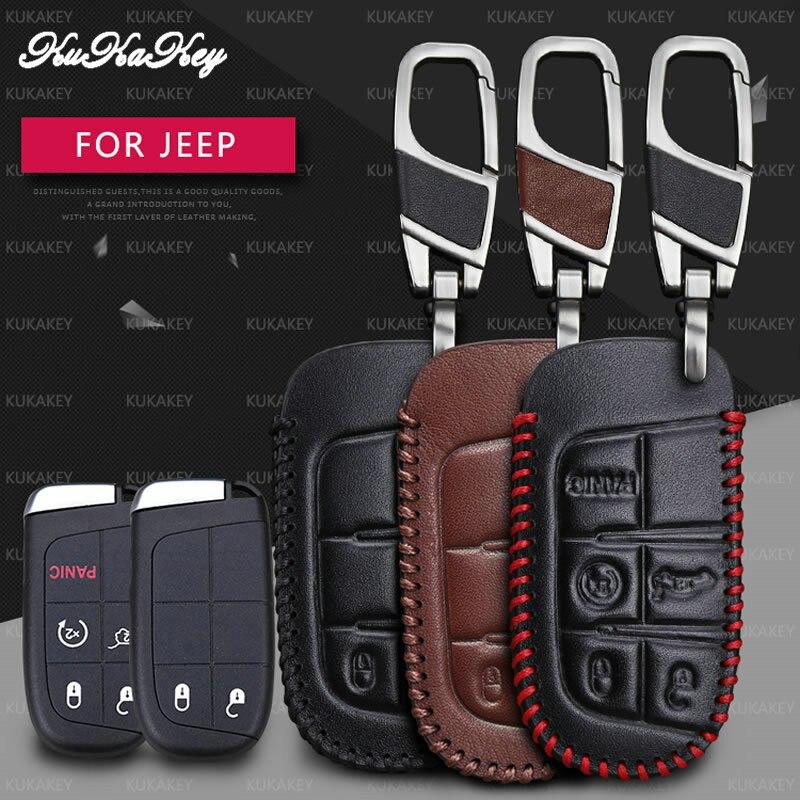 Чехол для автомобильного смарт-ключа KUKAKEY, дистанционный Чехол для автомобильного смарт-ключа для Jeep Wrangler, патриот, Grand Cherokee, компас, Liberty, кож...
