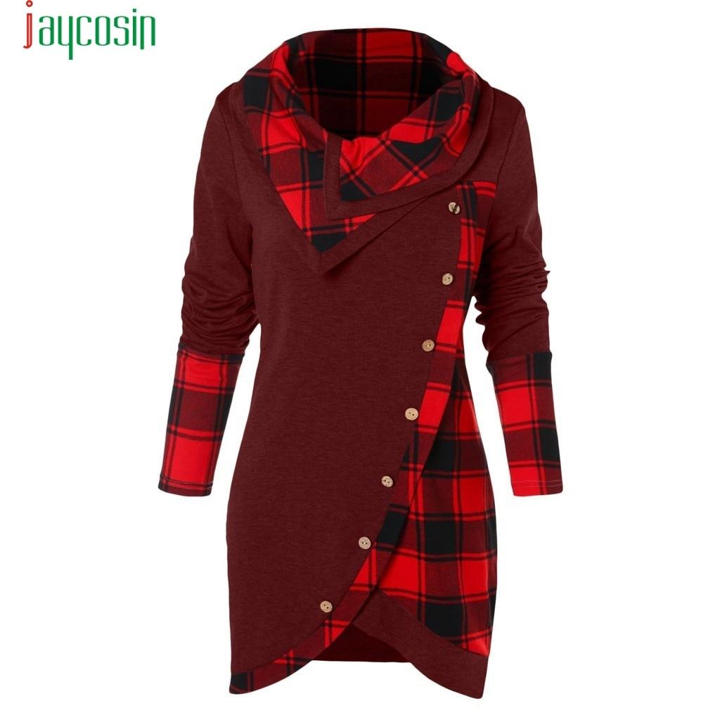 JAYCOSIN Winter women shirt button girl clothing Women Long Sleeve Plaid Turtleneck TartanTunic Sweatshirt female Pullover Tops
