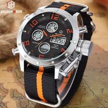GOLDENHOUR sport montres hommes analogique numérique armée militaire LED affichage hommes montres horloge mâle Quartz montre Relogio Masculino