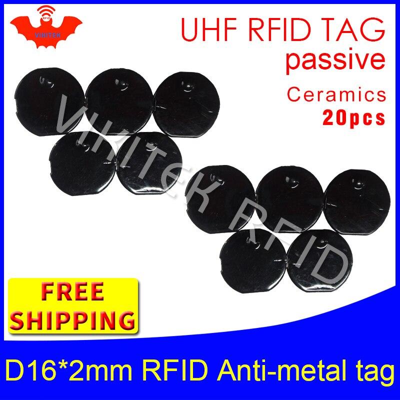 RFID UHF etiqueta de metal 915m 868m EPC 6c 20 piezas envío gratis herramientas de gestión de D16mm * 2mm micro circular cerámica pasivo etiquetas RFID