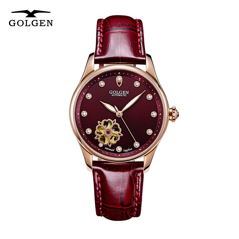 GOLGEN Women Automatic Mechanical Watch Luxury Skeleton Design Waterproof Elegant W Watches Female Wristwatch