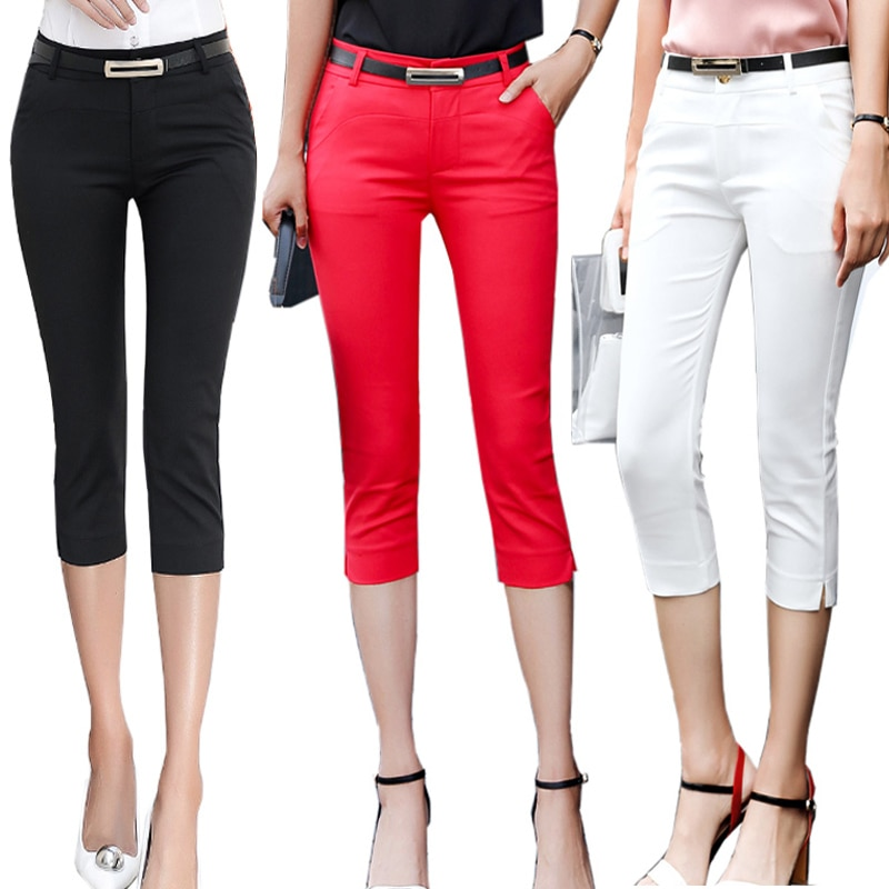 AliExpress - Pants Women Summer Skinny Breeches Cropped Trousers High Waist Office Lady Slim Capris Pantalon Femme Woman Bodycon Pencil Pant