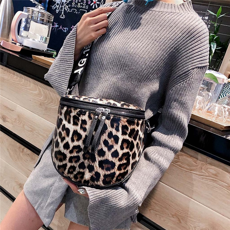 Bolso de mujer con estampado de leopardo, bandoleras de piel sintética para mujer, bolsos de mensajero, bolso de mano tipo cubo para mujer, #40