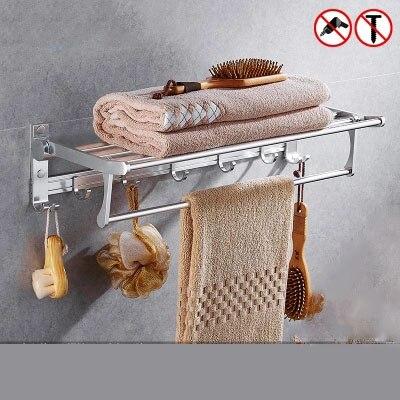 Estante de baño toallero sin perforaciones suministros de baño soporte toallero plegable para colgar en la pared del baño