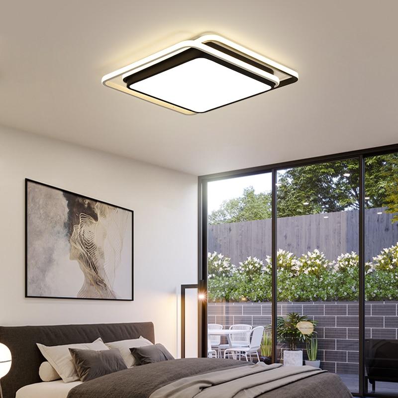 DAR-مصباح سقف Led مربع لغرفة المعيشة ، مصباح سقف حديث مثبت على السطح ، أبيض وأسود