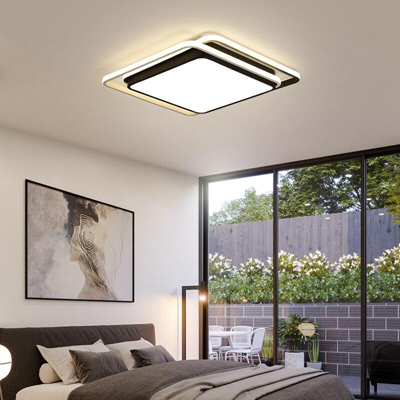 Luces de Techo cuadradas montadas en superficie Para DAR luz Led de Techo blanca y negra lámpara moderna Para sala de estar iluminación Plafon Led Para Techo