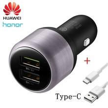 Cargador de coche Original Huawei Honor Dual USB 9 V/2A 5 V/2A carga rápida con 2A tipo C Cable de carga rápida