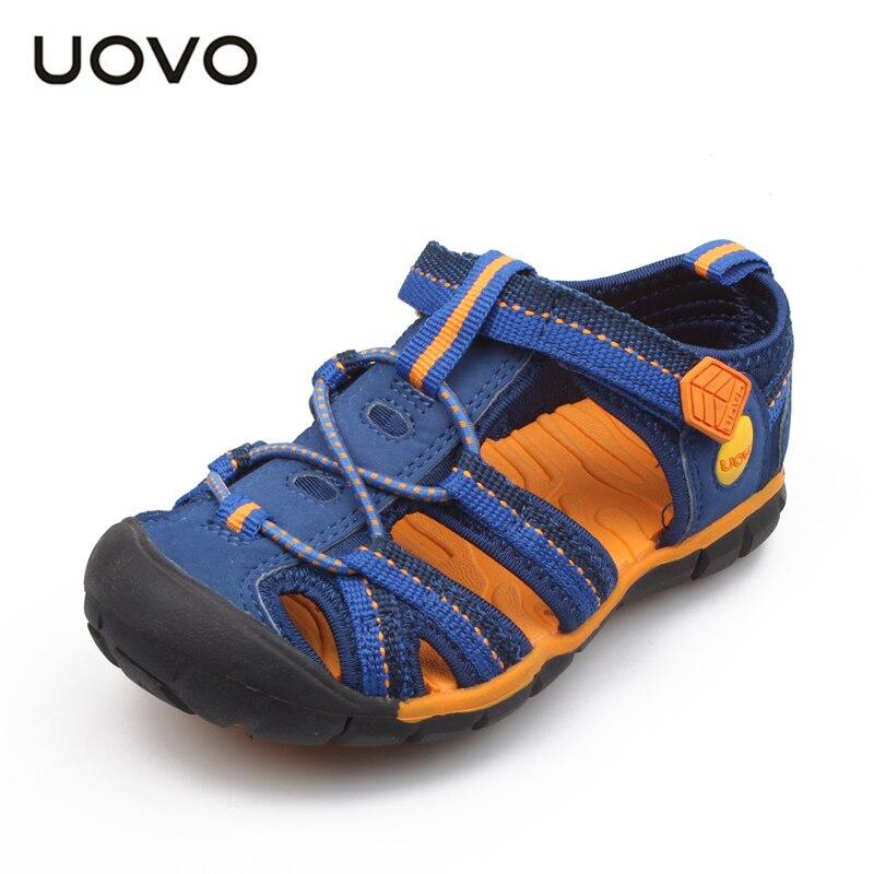UOVO sandalias de verano para niños, zapatos de moda para niños, zapatos de playa casuales huecos al aire libre para niños y Size30-36