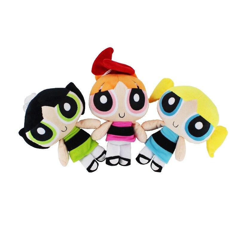 3 unids/lote 20cm dibujos animados anime Power puff felpa niñas figura flor & Buttercup & Bubbles lindo peluche y muñeco de peluche