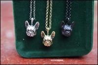 retro hippie french bulldog necklace punk french bulldog jewelry antique bronzegun black plated 12pcslot