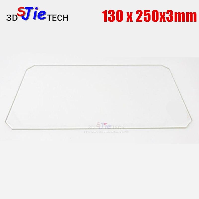 Placa de vidrio de borosilicato de 130x250x3mm con corte de esquina para piezas de impresora 3D de cama ampliada Mini MP