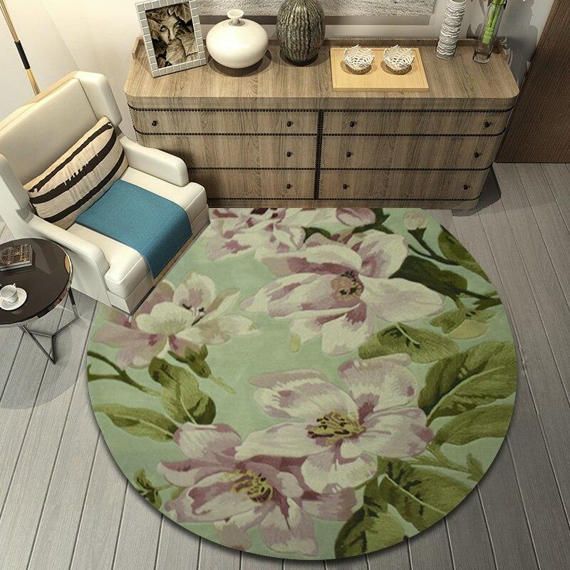 Alfombra redonda de talla grande ALITEXTILEBTOC para el hogar 100% de lana Jacquard tallada a mano Floral Tapis Salon alfombra suave antideslizante para salón