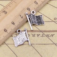 15 pcs/lot breloques drapeau américain 18x15mm pendentifs tibétains artisanat faisant des résultats à la main Antique bijoux bricolage pour collier